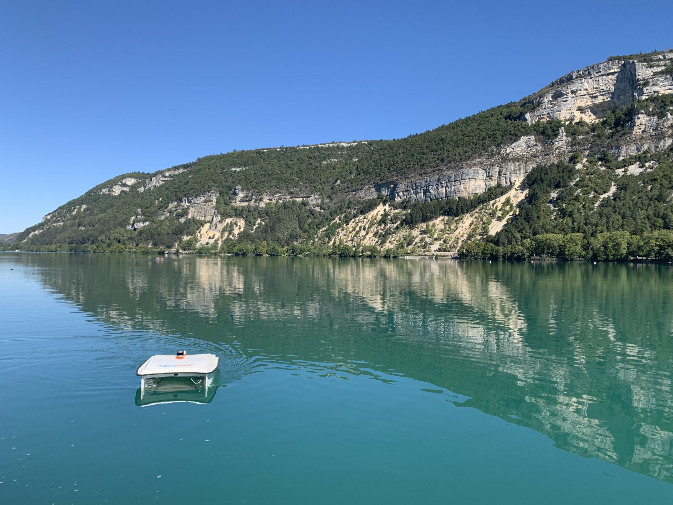 Our WasteShark testing and collecting marine waste in Poralu, France